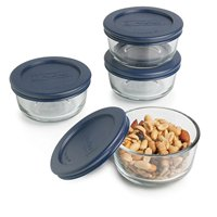 Anchor Hocking Glass 8pc 1-Cup Clear Round Food Storage Containers with Blue Plastic Lids