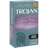 Trojan Ultra Thin Premium Lubricated Condoms - 12 Count