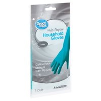 Great Value Latex Multi-Purpose Household Gloves, Medium, 1 pair