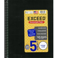 Exceed 5 Subject 160 Sheets Notebook, College Ruled, 11