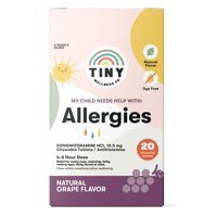 Tiny Wellness Co. My Child Needs Help With: Allergies, Natural Grape Flavor, 20 Chewable Dye Free Tablets