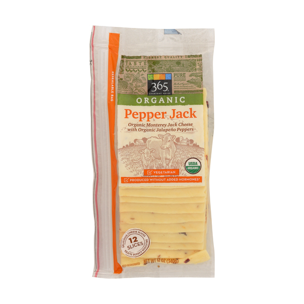 365 Organic Pepper Jack Cheese Slices, 12 ct