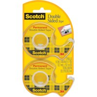 Scotch Double Sided Tape, Permanent, clear, 1/2 in. x 400 in., 2 Dispensers/Pack