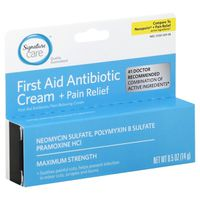 Signature Care First Aid Antibiotic Cream, + Pain Relief, Maximum Strength