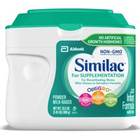 Similac For Supplementation, Gentle Non-GMO Infant Formula, for Breastfed Babies, with Prebiotics, Supports Brain & Eye Development, Powder, 23.2-oz Tub