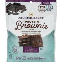 Crunchmaster Brownie Thins, Protein, Gluten Free, Dark Chocolate, Pouch
