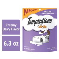 TEMPTATIONS Classic Crunchy and Soft Cat Treats Creamy Dairy Flavor, 6.3 oz. Pouch