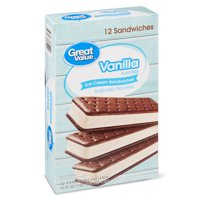 Great Value Vanilla Flavored Ice Cream Sandwiches, 42 oz, 12 Count
