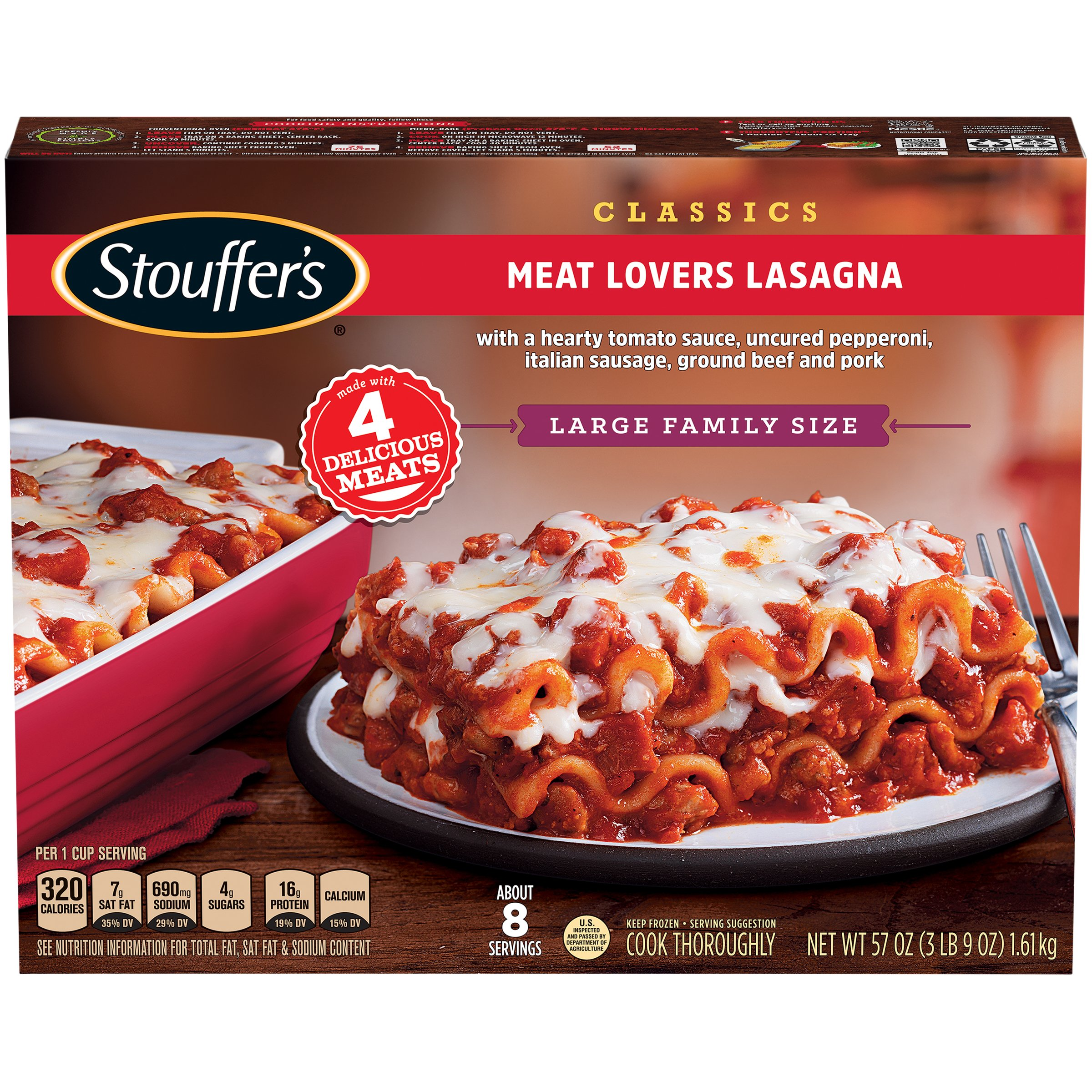 STOUFFER'S CLASSICS Large Family Size Meat Lovers Lasagna 57 oz. Box