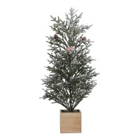Holiday Time Rosemary Tree with Wood Base Christmas Decoration, 24