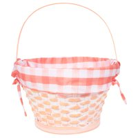 Way to Celebrate Bamboo Easter Basket with Orange Gingham Liner