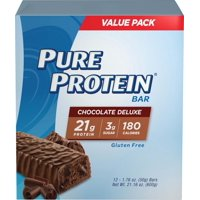 Pure Protein® High Protein Bar Chocolate Deluxe 1.76-Ounce Bar (Pack of 12), Protein Bars, 20 Grams of Protein, Gluten Free