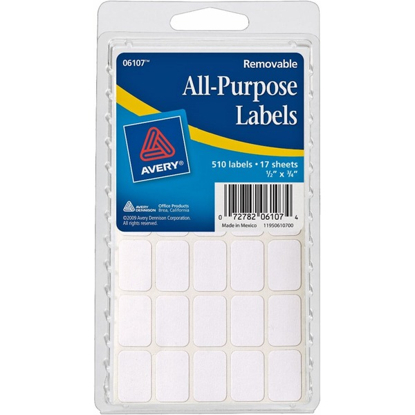 Removable Labels White .5 X.75