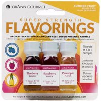 Candy & Baking Flavoring .125Oz 3/Pkg-Summer Fruit-Blueberry/Raspberry/Pineapl