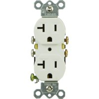 GE 20A Grounding Duplex Receptacle, White