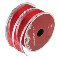 """Northlight Dazzling Red and Silver Metallic Stripe Wired Christmas Craft Ribbon 2.5"""" x 120 Yards"""