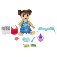 Baby Alive Happy Hungry Baby Brown Straight Hair Doll, 50+ Sounds, Phrases, Eats, Poops, Drinks, Wets, for Kids Ages 3+