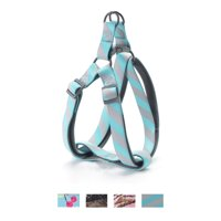Vibrant Life Comfort Padded Step-In Dog Harness, Gray/Blue Striped, 14-20 in