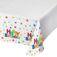 Birthday Burst Plastic Tablecloth