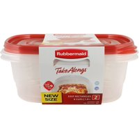 Rubbermaid TakeAlongs Deep Rectangle Food Storage Container (Set of 2), 8 Cups