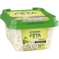 Athenos Feta Cheese Crumbles, Traditional Feta Cheese, 6 oz Tub