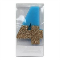 Number 4 Glitter Candle Blue/Gold - Spritz™