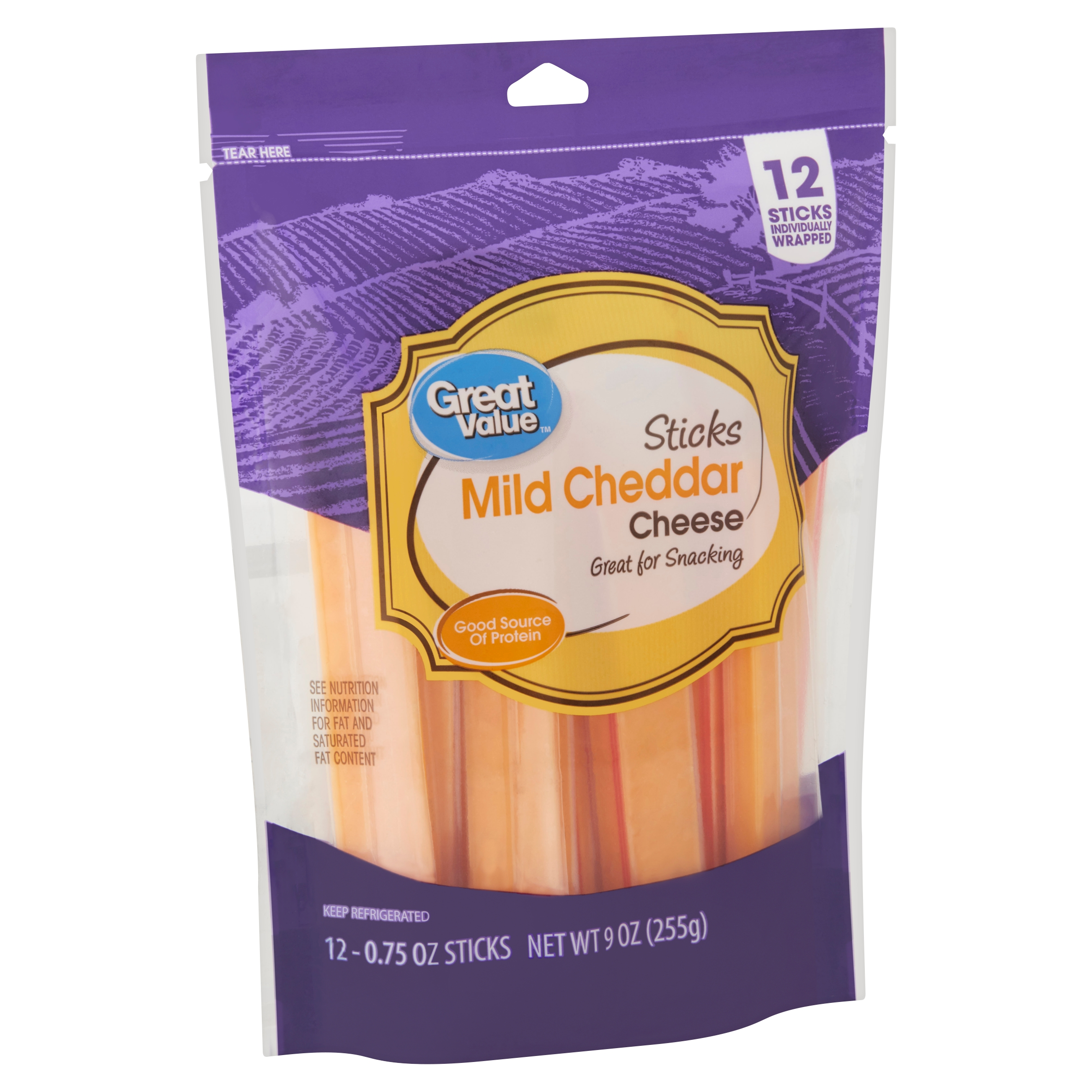 Great Value Sticks Mild Cheddar Cheese, 0.75 oz, 12 count