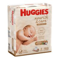 Huggies Nourish & Care Scented Baby Wipes, 3 Flip-Top Packs (