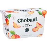Chobani Yogurt, Greek, Non-Fat Peach, 4 Value Pack