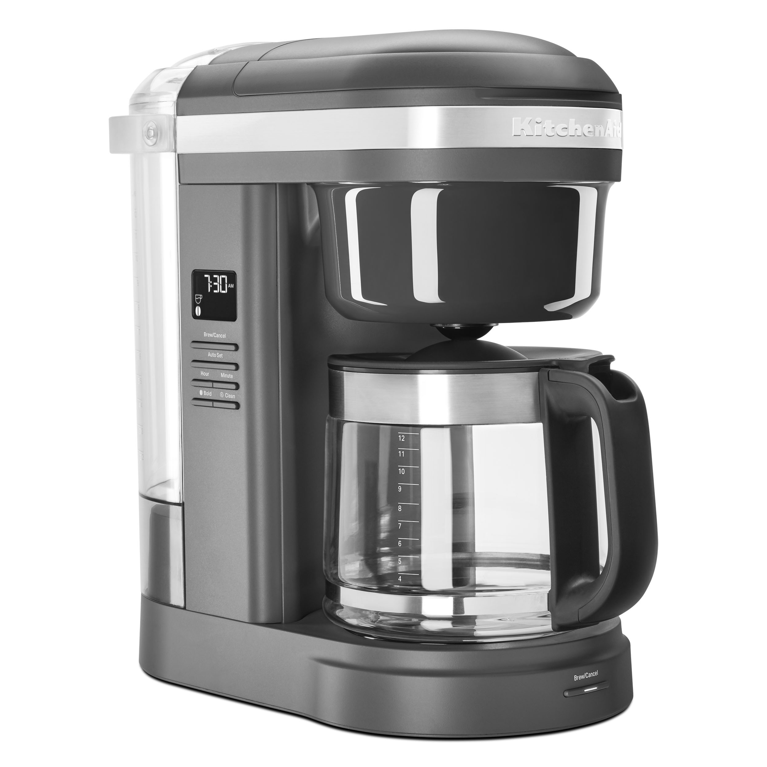 KitchenAid 12 Cup Drip Coffee Maker with Spiral Showerhead - Matte Charcoal Grey