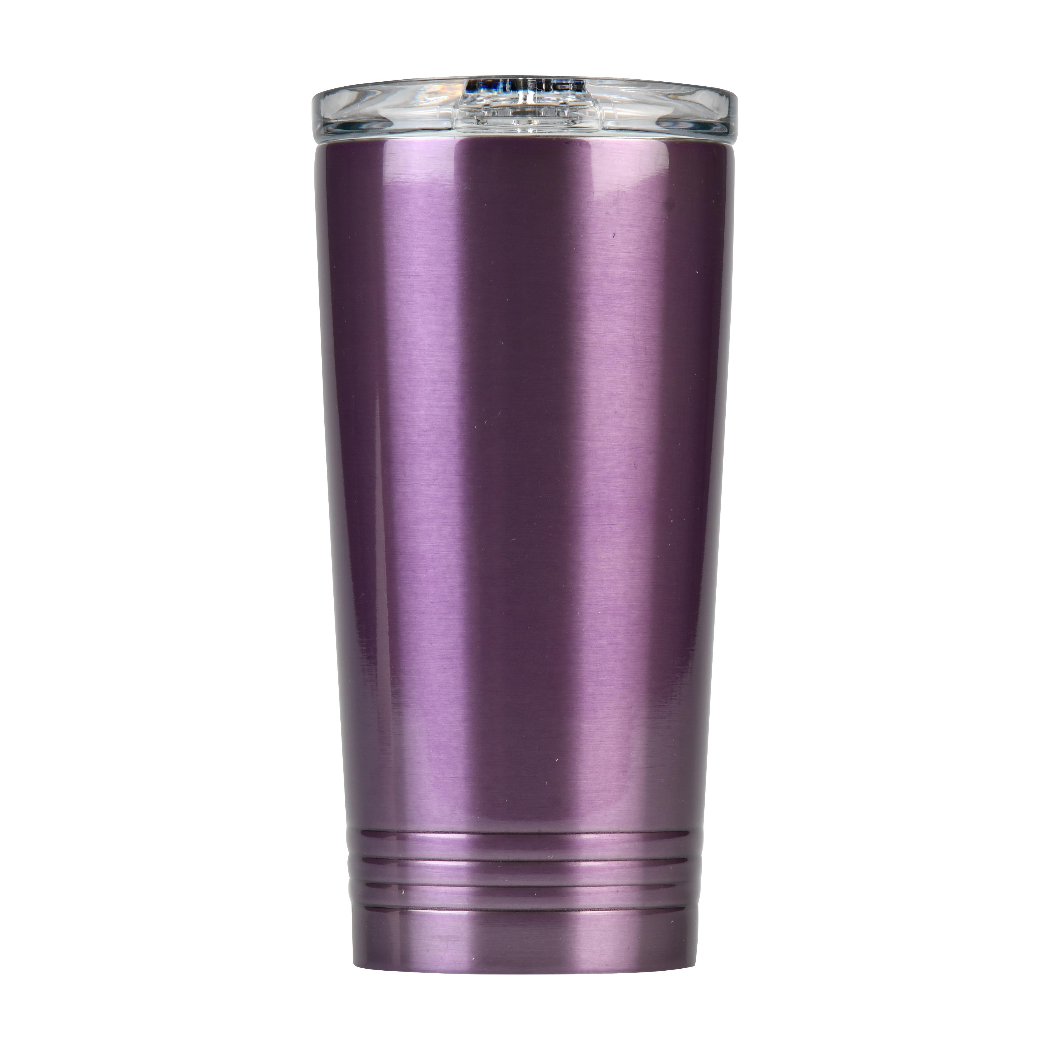 Mainstays Stainless Steel Double Wall Tumbler, Purple, 16 oz