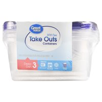 Great Value BPA Free Take Outs Storage Containers with Lids, Deep Dish, Set of 3, 64 fl oz