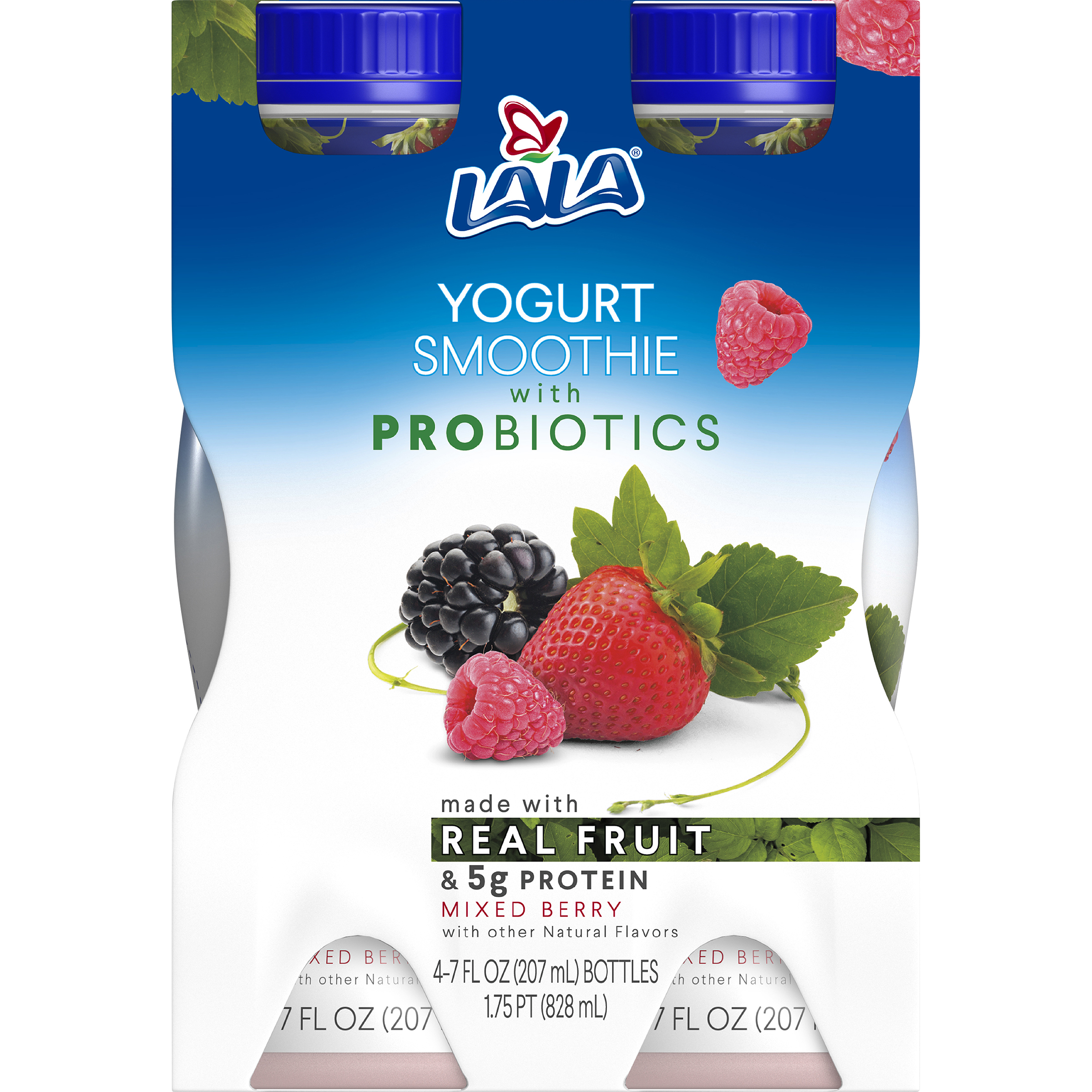 LALA Drinkable Yogurt Smoothie with Probiotics, 5g of Protein, Mixed Berry, 7-Ounce Bottles (Pack of 4)