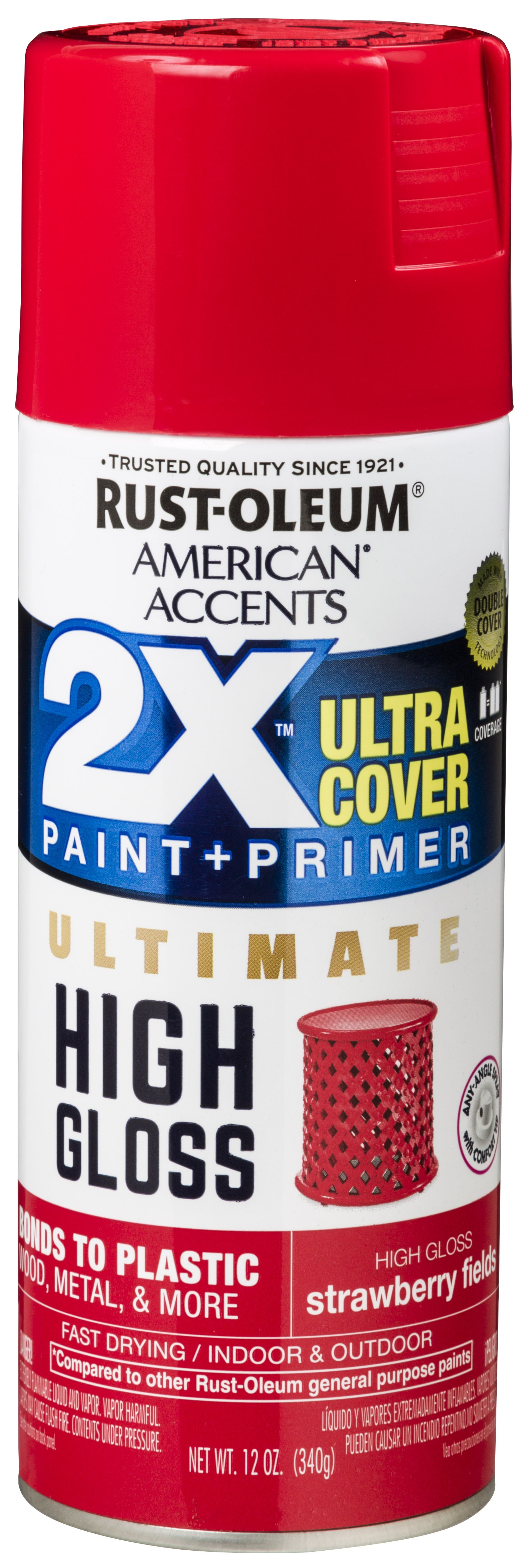 (3 Pack) Rust-Oleum American Accents Ultra Cover 2X Ultimate High Gloss Strawberry Fields Spray Paint and Primer in 1, 12 oz