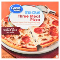 Great Value Frozen Thin Crust Three Meat Pizza, 17.25 oz
