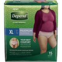 Depend Fit-Flex Incontinence Underwear for Women, Maximum Absorbency, XL, Tan