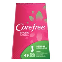 Carefree Thong Pantiliners with Wings, Unscented, 49 Ct