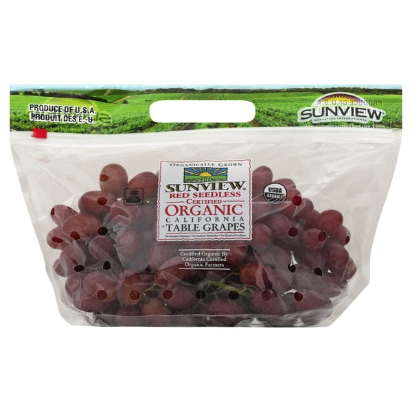 Sunview Grapes, Table, Certified Organic, Red, Seedless