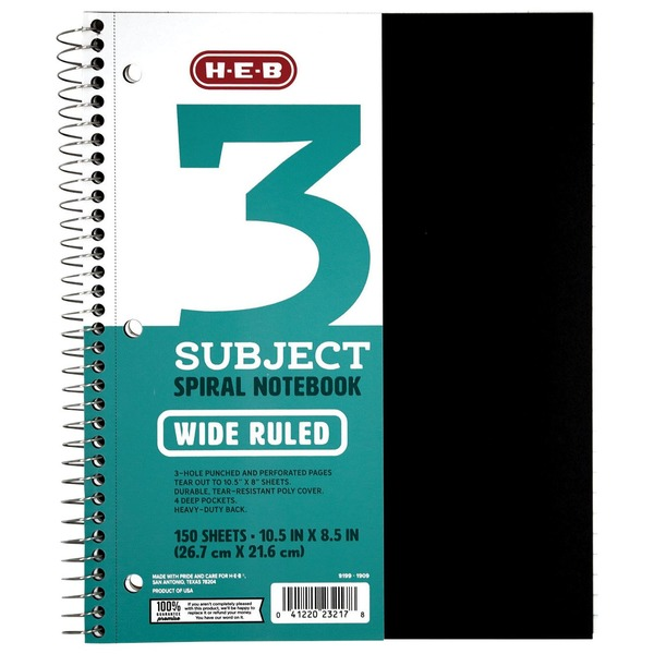 H-E-B Black 3 Subject Wide Rule Spiral Notebook