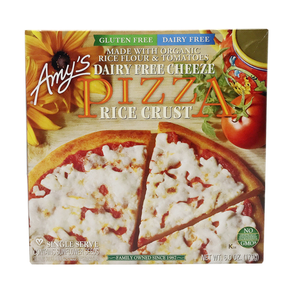 Amy's kitchen Single Serve Dairy Free Rice Crust Cheeze Pizza, 6 oz