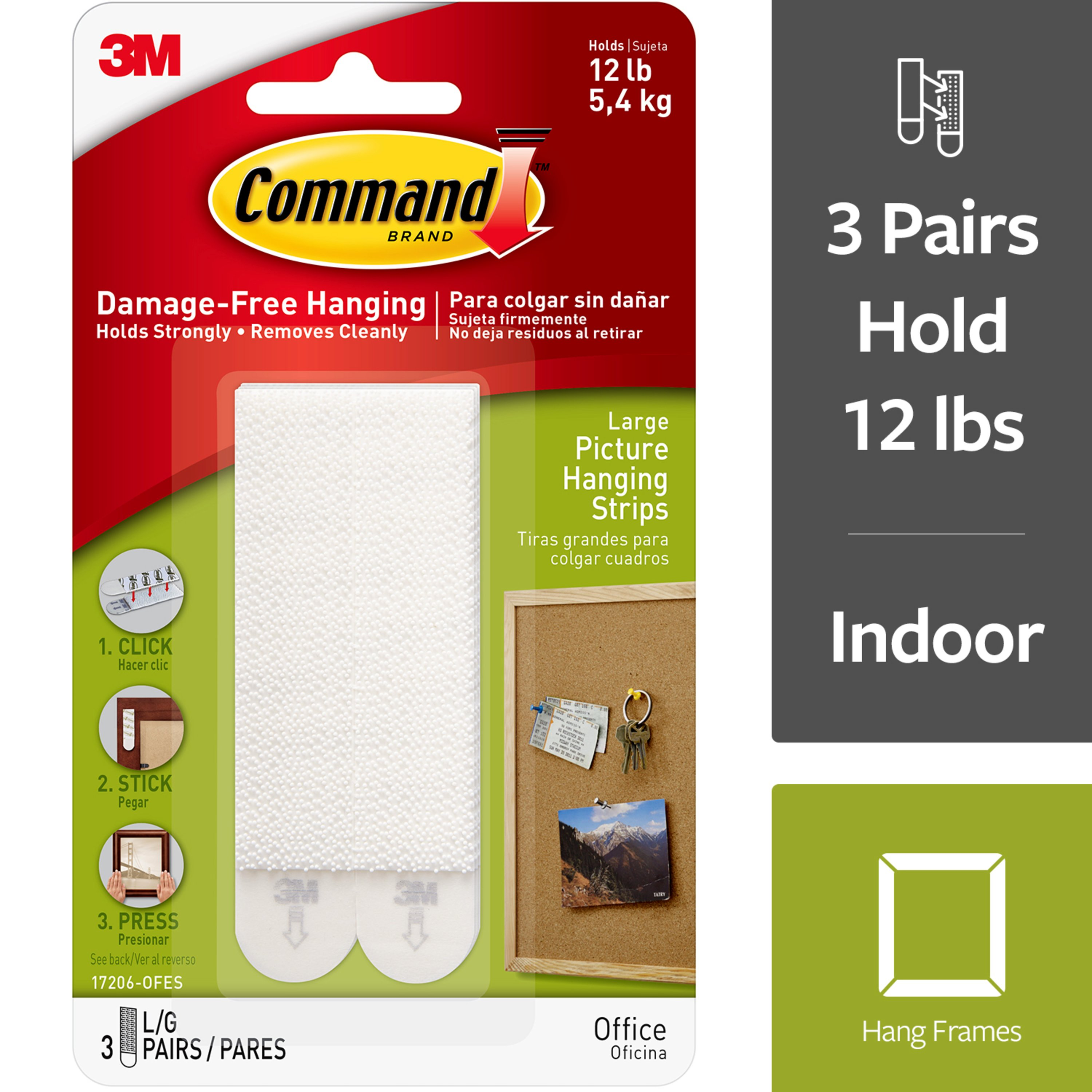 Command Picture Hanging Strips, White, Large, 3 Sets of Strips/Pack