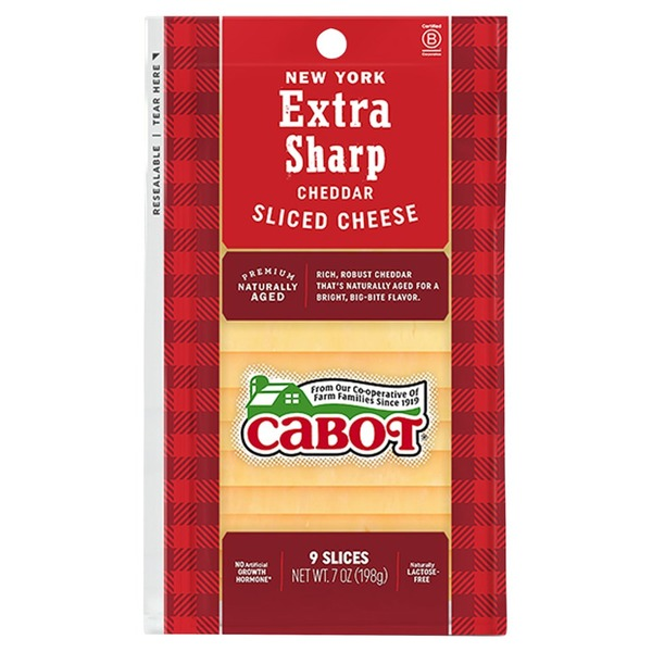 Cabot Cheese New York Extra Sharp Yellow Cheddar Cheese Slices