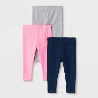 Baby Girls' 3pk Leggings - Cat & Jack™ Navy/Gray/Pink