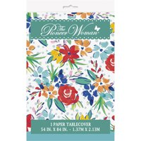 Pioneer Woman Birthday Flowers Plastic Party Tablecloth, 84 x 54in