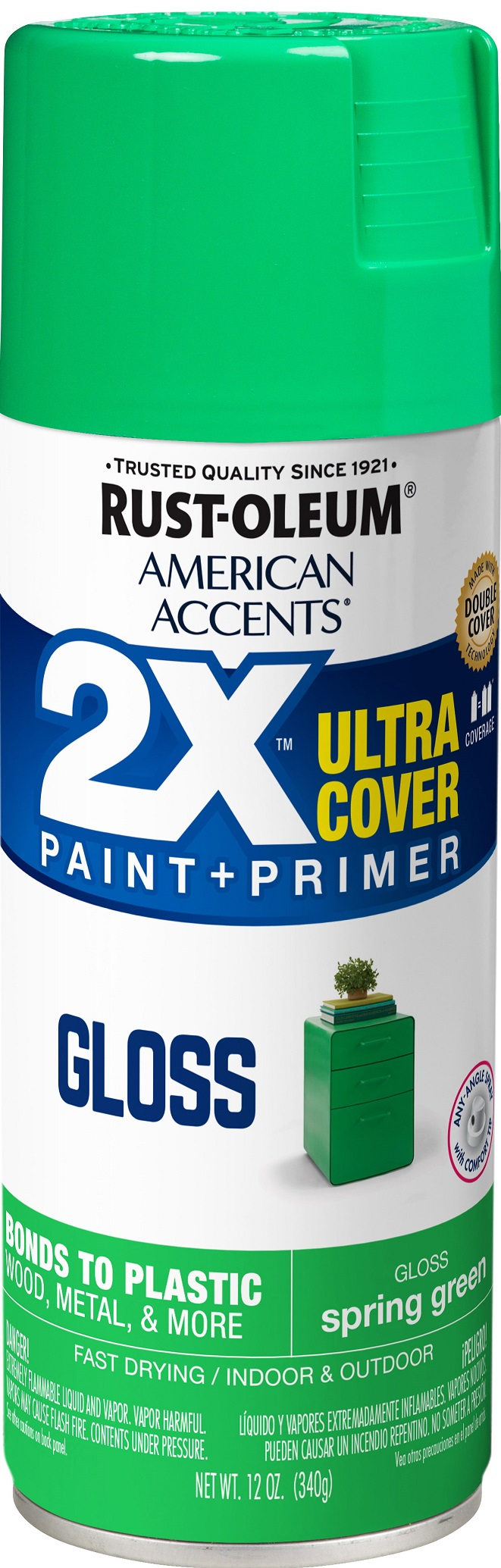 (3 Pack) Rust-Oleum American Accents Ultra Cover 2X Gloss Spring Green Spray Paint and Primer in 1, 12 oz