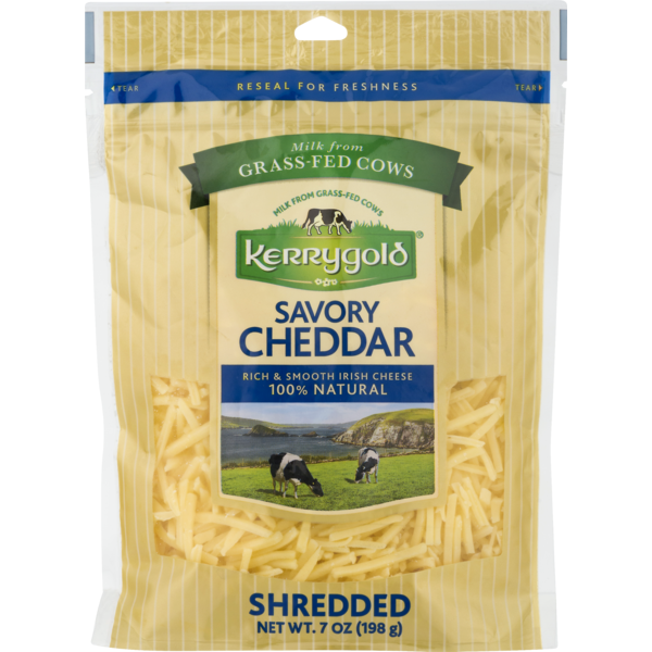 Kerrygold Cheese, Savory Cheddar, Shredded, Pouch