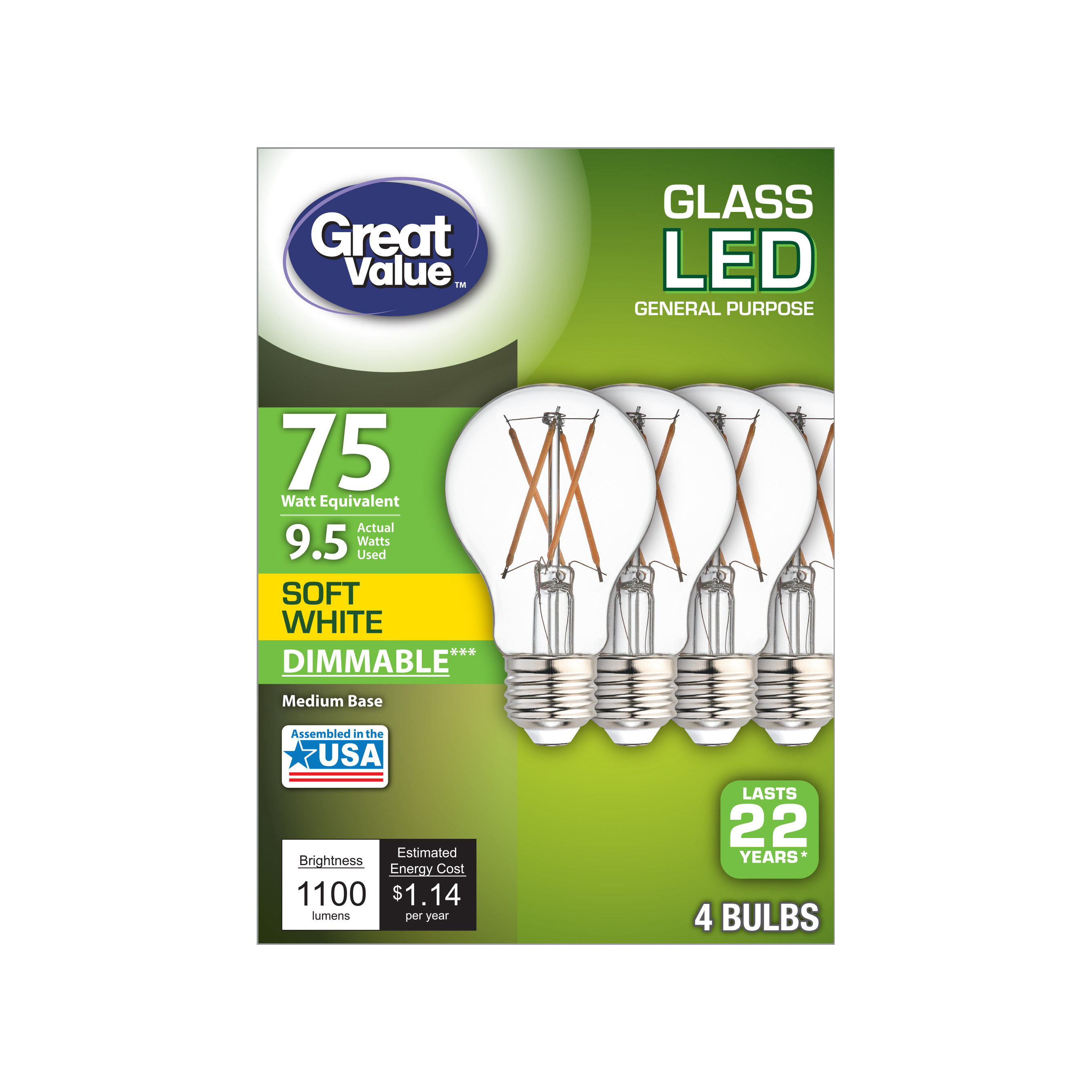 Great Value LED, 9.5W (75W Equivalent) Soft White Color, Clear Bulb, 22 Year Life, E26 Medium Base, Dimmable, 4pk Light Bulbs