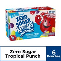 Kool-Aid Jammers Flavored Drink, Zero Sugar Tropical Punch, 10 ct - Pouches, 60.0 fl oz Box