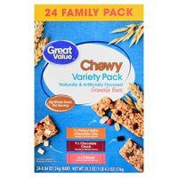 Great Value Chewy Variety Pack Granola Bars Value Pack, 0.84 oz, 24 Count