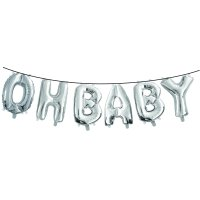 Ways to Celebrate Oh Baby Air-Filled Balloon Banner with Ribbon, Silver, 16 inches, 6 count
